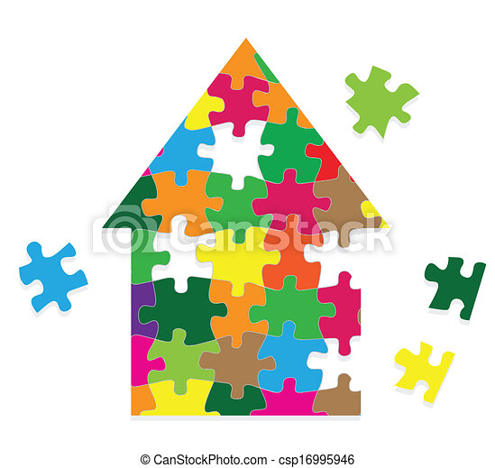 Colorful jigsaw puzzle house vector background - csp16995946