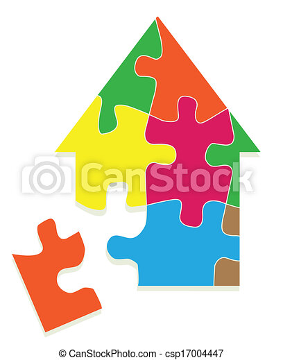 Colorful jigsaw puzzle house vector background - csp17004447