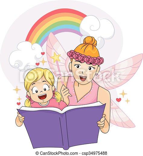 Colorful Kid Girl Fairy Fantasy Book - csp34975488