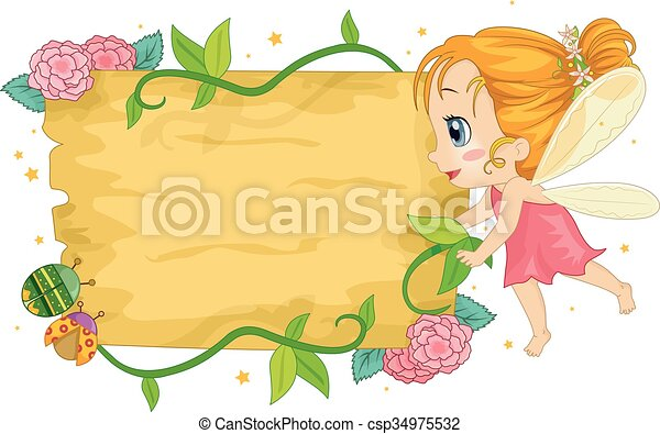 Colorful Kid Girl Fairy Wooden Board - csp34975532
