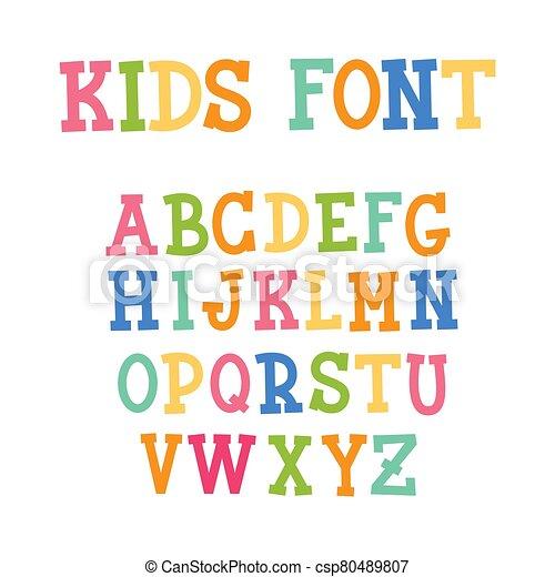 Colorful Kids Capital Letters Alphabet. Vector illustration - csp80489807