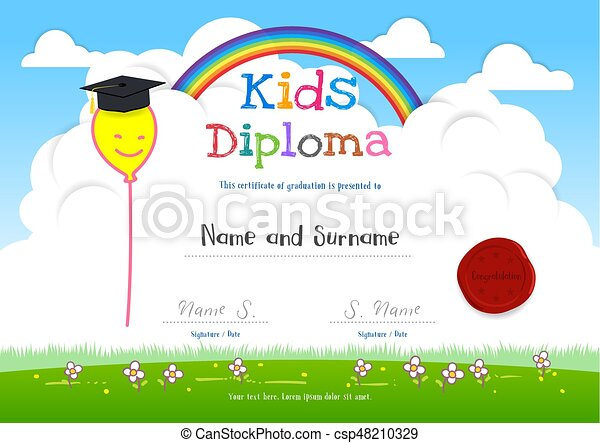 Colorful kids summer camp diploma certificate template in cartoon colorful kids summer camp diploma certificate template in cartoon style with smiling yellow balloon on rainbow yelopaper Choice Image