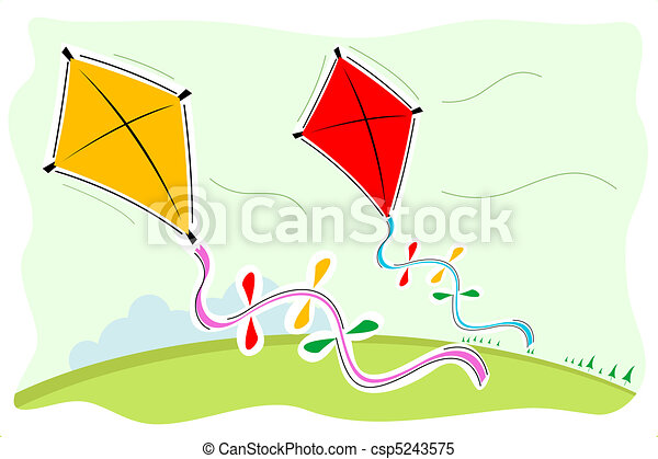 illustration of colorful kites rh canstockphoto com kites clipart kites clipart