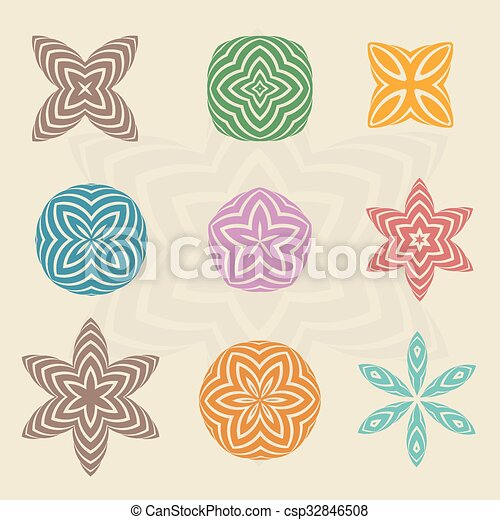 Colorful line art in flower abstract - csp32846508