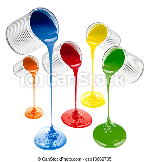 colorful liquid paints poured out isolated - csp13662705