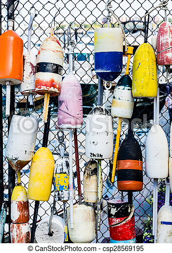 Colorful Lobster Floats on Fence - csp28569195