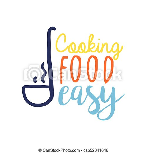 Colorful Logo Template For Cooking Food Club With Ladle