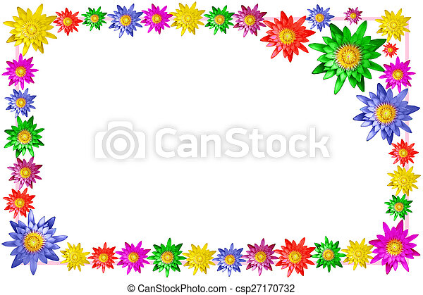 Colorful lotus flower frame on white background stock photos colorful lotus flower frame csp27170732 mightylinksfo Images