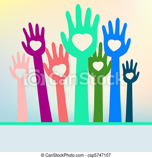 Colorful loving hands with copy space. EPS 8 - csp5747107
