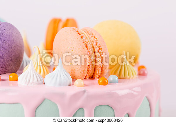 Stupendous Colorful Macaron Birthday Cake And Sweet Candy Topping Personalised Birthday Cards Paralily Jamesorg