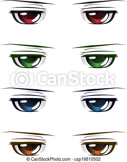 Colorful Male Eyes Manga Anime Style Of Different Colors