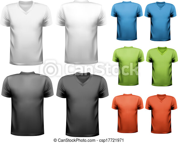 bb3537e0 Colorful male t-shirts. design template. vector.