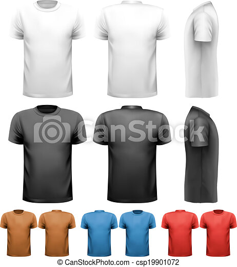 Colorful male t-shirts. Design template. Vector. - csp19901072