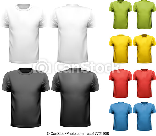 Colorful male t-shirts. Design template. Vector. - csp17721908