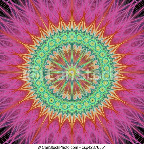 Colorful mandala fractal design background - csp42376551