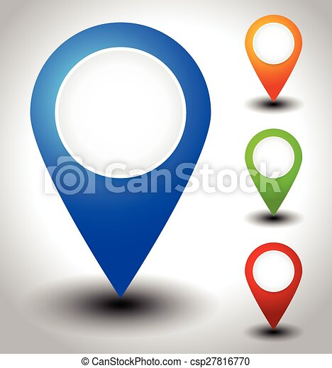 Colorful map marker, map pin icons with blank circles - csp27816770