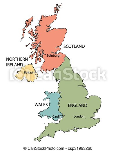 Colorful map of countries of united kingdom with indication of ...
