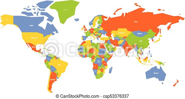 Colorful map of world simplified vector map with country vectors colorful map of world simplified vector map with country name labels gumiabroncs Image collections