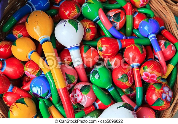 colorful maracas from Mexico handcraft painted - csp5896022