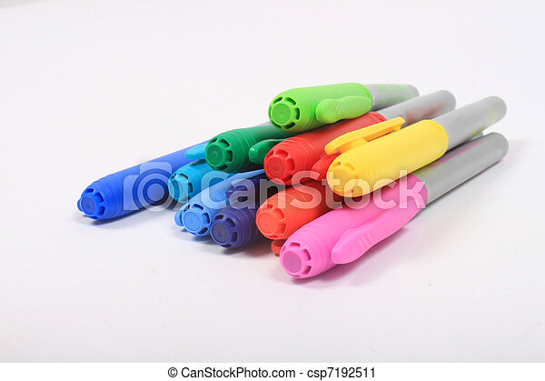 Colorful markers in rainbow colors