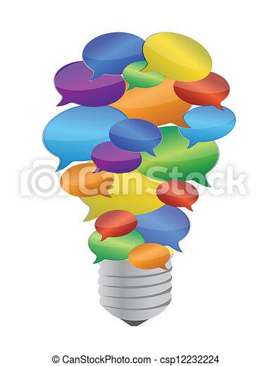 colorful message bubble bulb - csp12232224