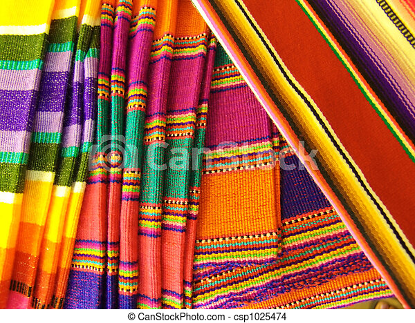 Colorful Mexican Blankets - csp1025474