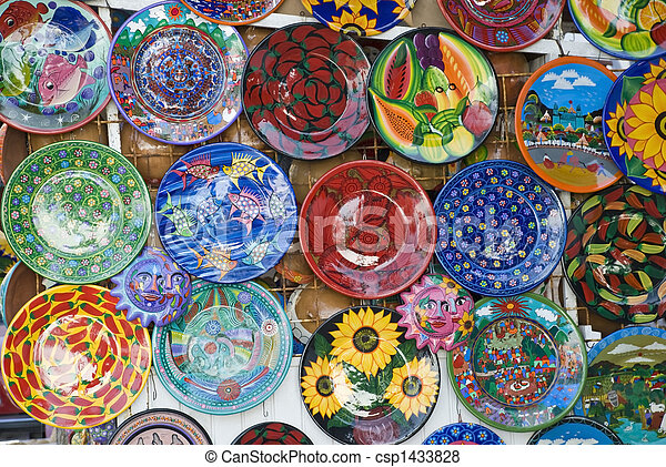 Colorful Mexican ceramic plates - csp1433828 & Colorful mexican ceramic plates. Colorful painted mexican ceramic ...