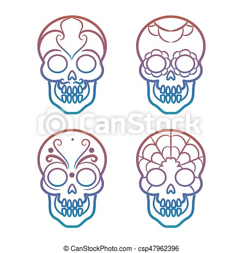 colorful mexican skulls on white background vector illustration