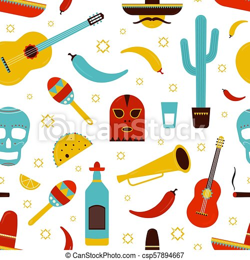 Colorful Mexico Seamless Pattern With Traditional Mexican Attributes On  White Background - Tequila 5e0dfee847f