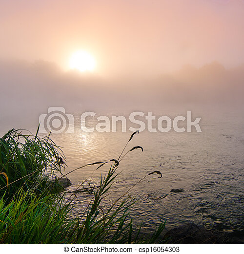 Colorful misty dawn at the lake - csp16054303