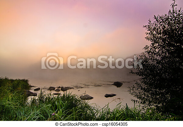 Colorful misty dawn at the lake - csp16054305