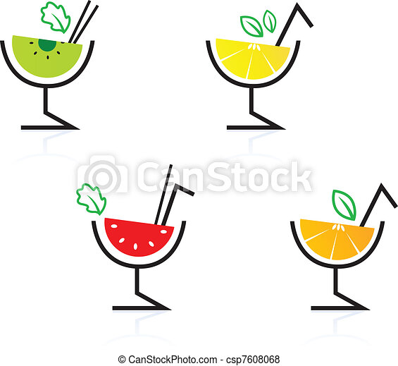 Colorful mixed fruit retro drinks / cocktail isolated on white   - csp7608068