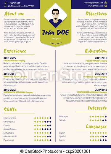 Colorful Modern Resume Curriculum Vitae Template With Design