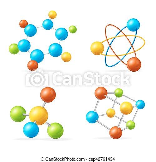 Colorful Molecule Set. Vector - csp42761434