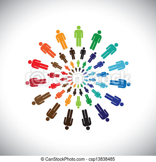 Colorful multi-ethnic people teams or communities meet as circles. This vector graphic can represent concept of teams interacting and collaborating with each other & also global social communities - csp13838485