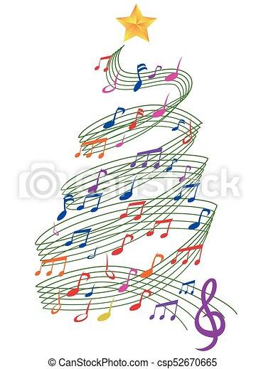 colorful Music Christmas Tree - csp52670665