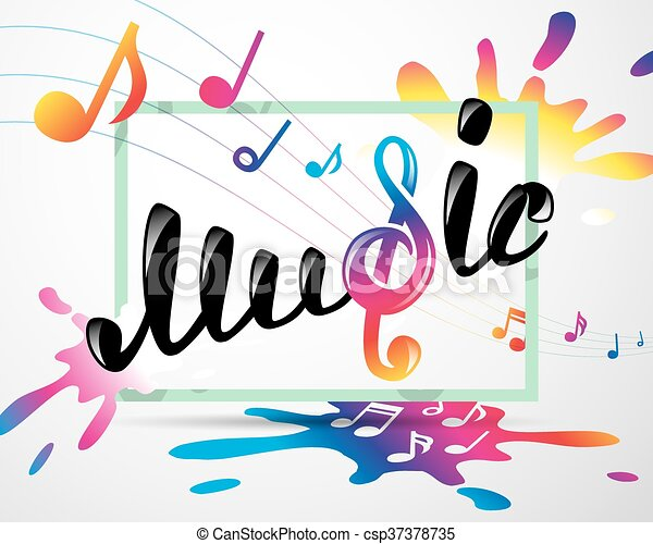 colorful music logo in frame vector illustration for your rh canstockphoto com music vectors free musical vectors