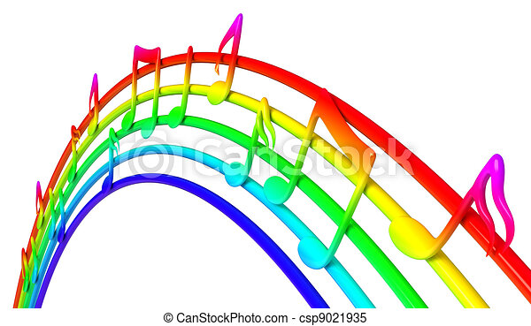 Colorful music notes - csp9021935