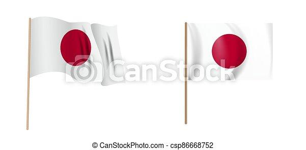 colorful naturalistic waving flag of Japan. Vector Illustration - csp86668752