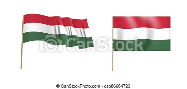 Colorful naturalistic waving flag of Hungary country. Vector Illustration - csp86664723