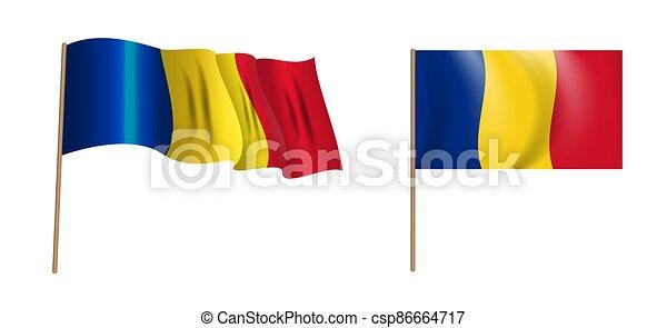 Colorful naturalistic waving Romania flag. Vector Illustration - csp86664717