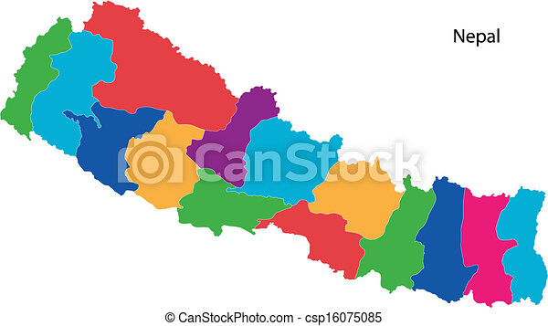 Colorful nepal map Map of administrative divisions of nepal vector