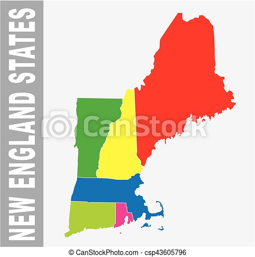 Colorful new england states administrative and political eps colorful new england states administrative and political vector map publicscrutiny Choice Image