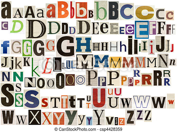 Colorful newspaper alphabet - csp4428359