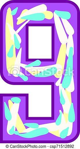 Colorful number nine, illustration, vector on white background. - csp71512892