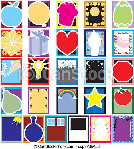 Colorful Object Silhouette Cards - csp3289453