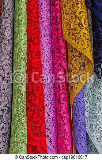 Colorful of fabric Lace rolls. - csp19616617