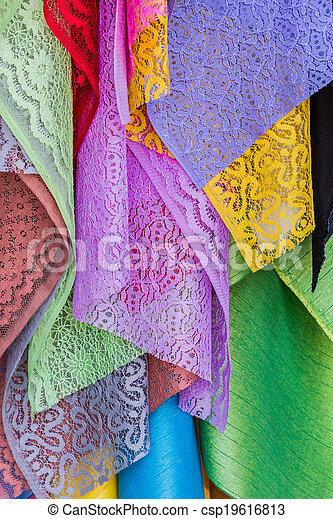 Colorful of fabric Lace rolls. - csp19616813