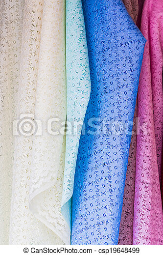 Colorful of fabric Lace rolls. - csp19648499