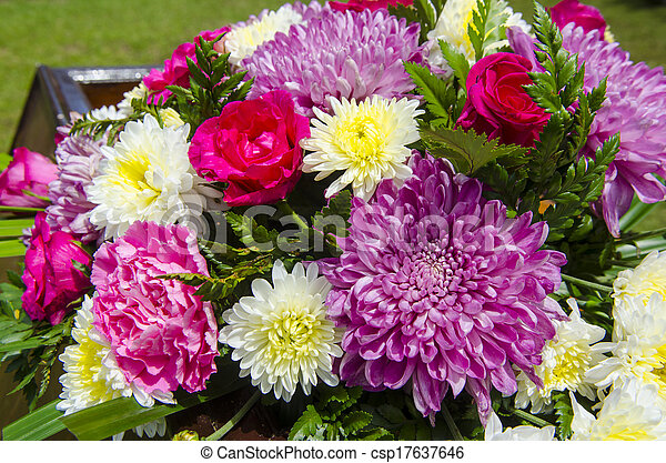 colorful of variety plastic flowers. - csp17637646